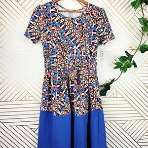 Lularoe Amelia Dress NWT Blue Geometric Shapes M